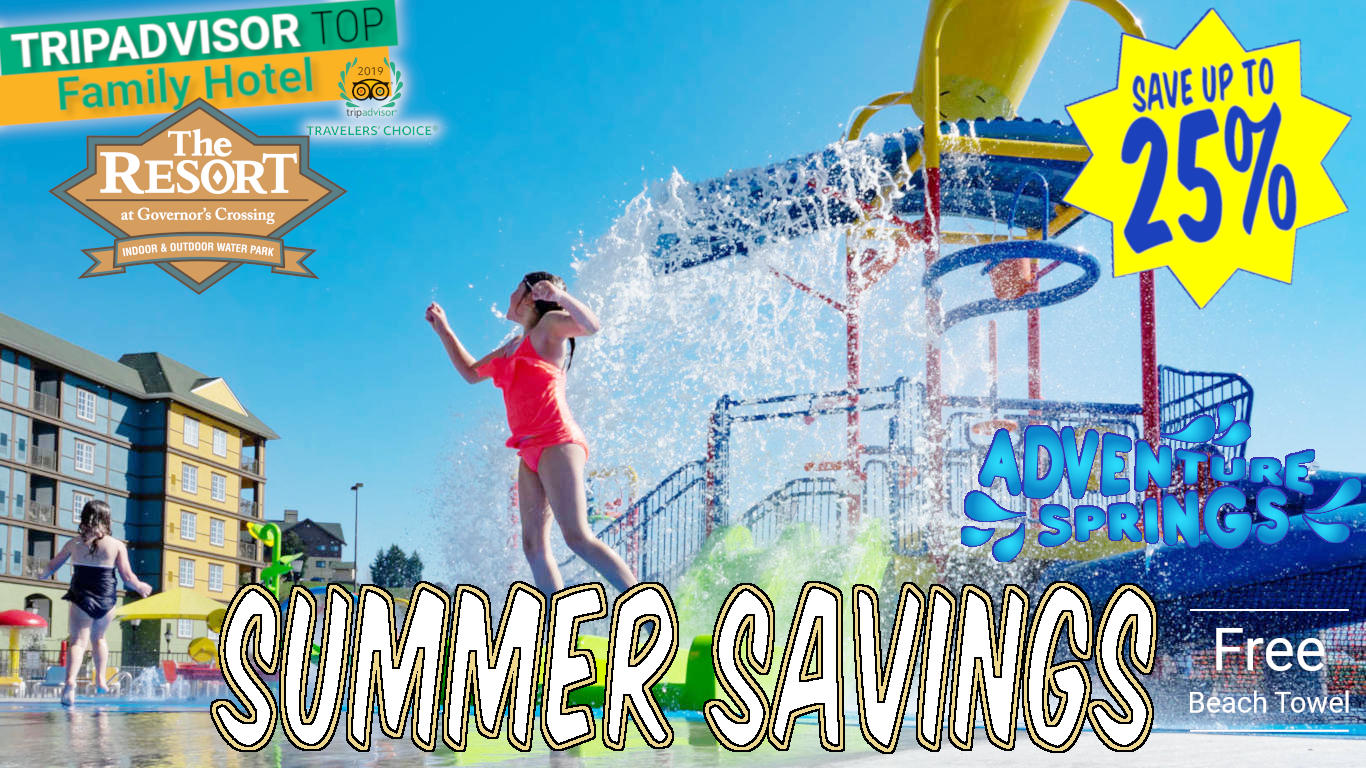 Summer Savings at The Resort at Governors Crossing: Free Beach Towel - Indoor Waterpark #heatedpool
