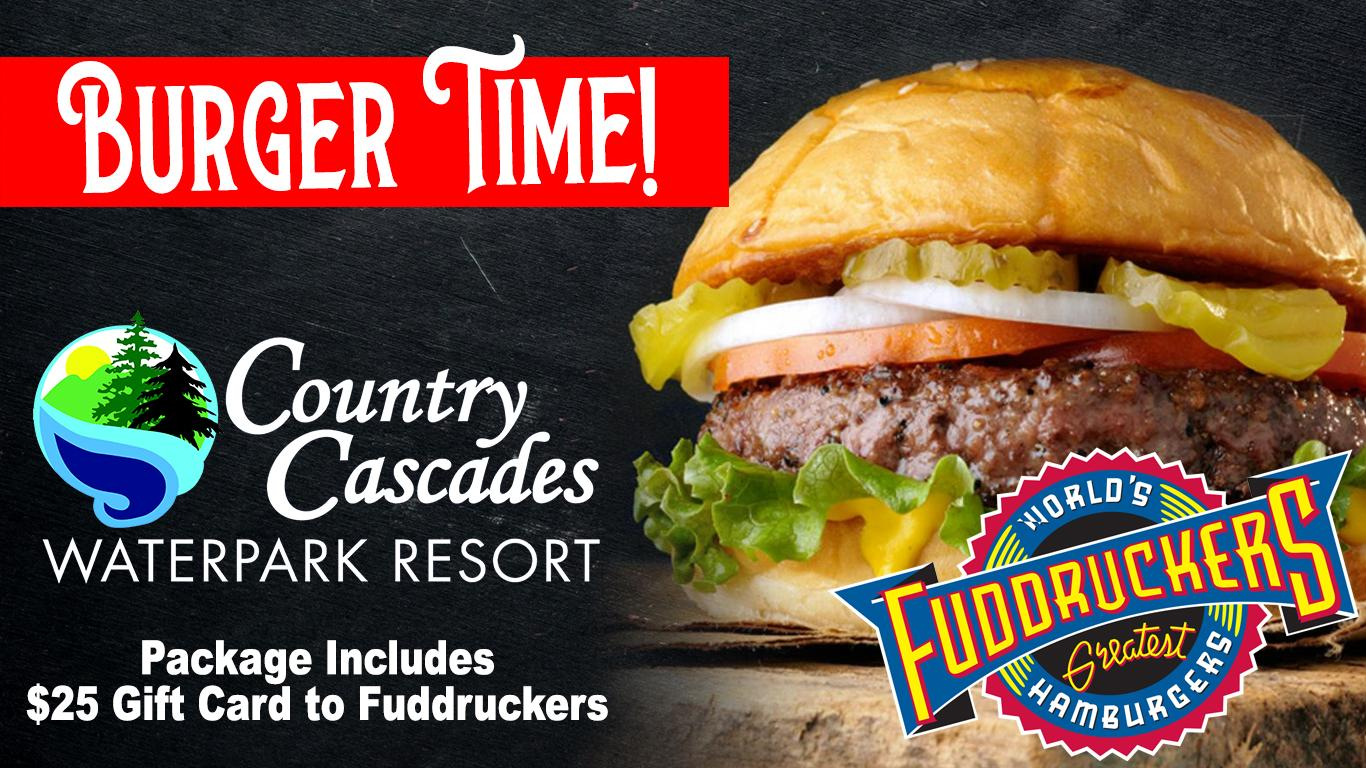 Fuddruckers Hamburger and logo. Country Cascades logo. Package includes $25 gift card.