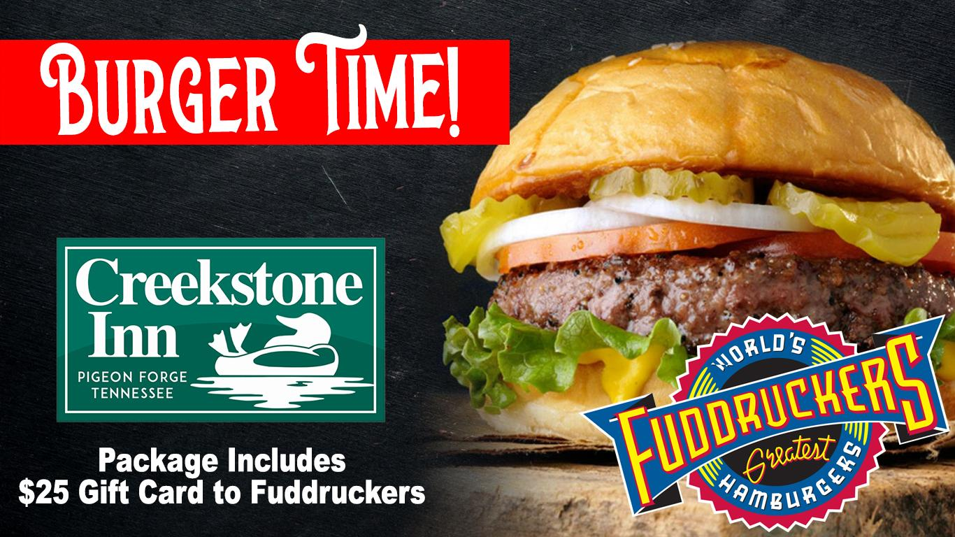 Fuddruckers Hamburger and logo. Creekstone Inn logo. Package includes $25 gift card.