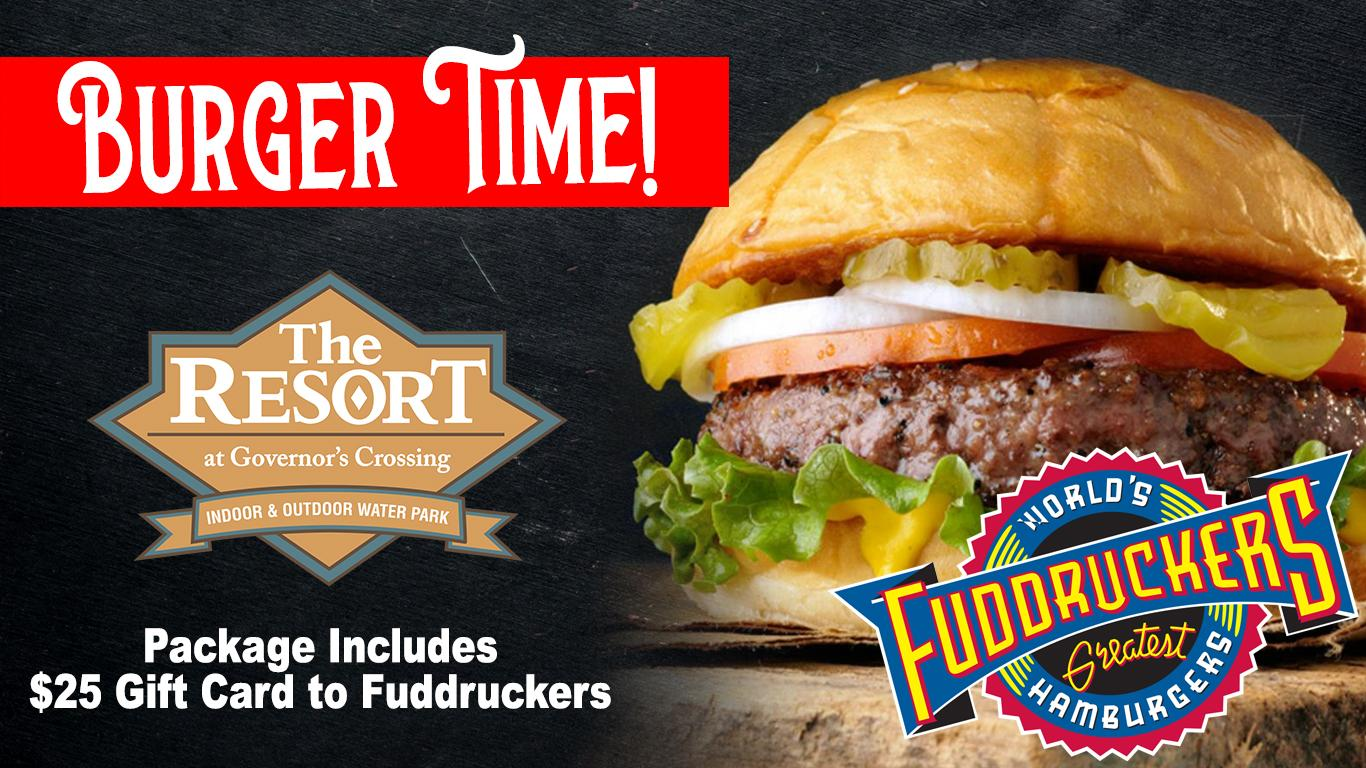 Fuddruckers Hamburger and logo. Resort at Governors Crossing logo. Package includes $25 gift card.