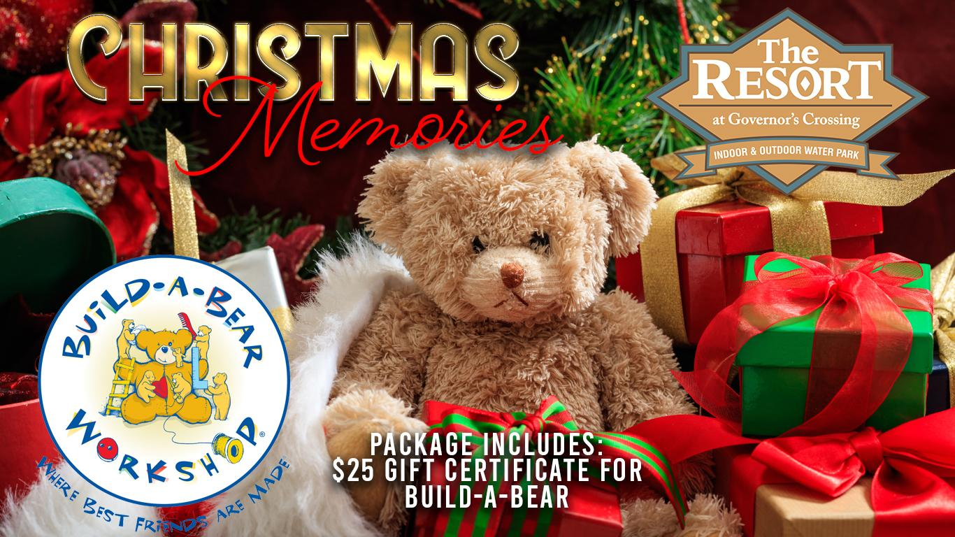 Plush bear set in Christmas decorations and packages. Build-A-Bear logo. Resort logo. Includes $25 gift card.