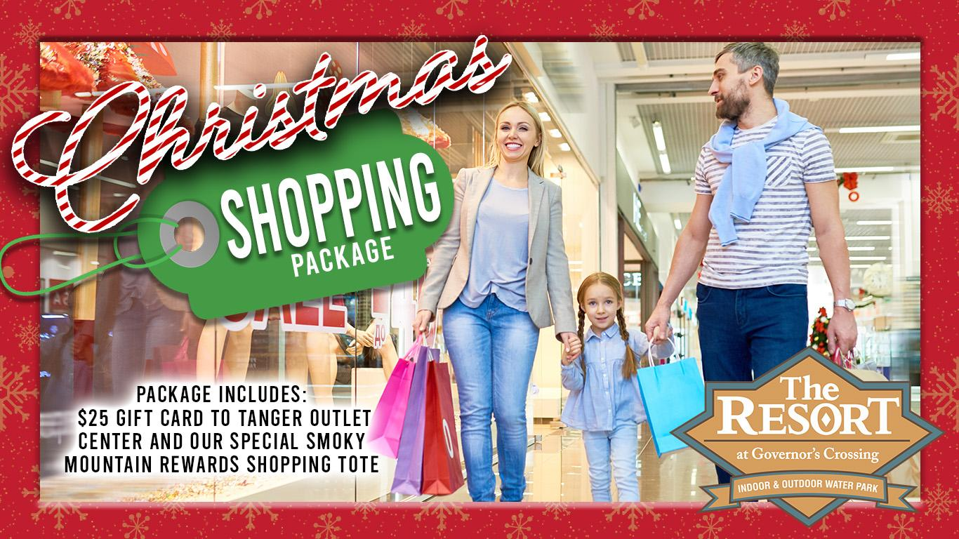 Man, woman, and child holding hands while shopping. Resort logo. Package includes $25 Tanger Outlet gift card and tote