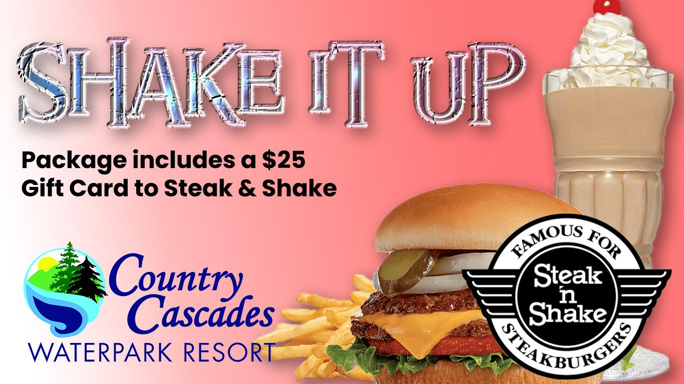 Steak and Shake hamburger, shake and logo. Country Cascades logo. Package includes $25 gift card.