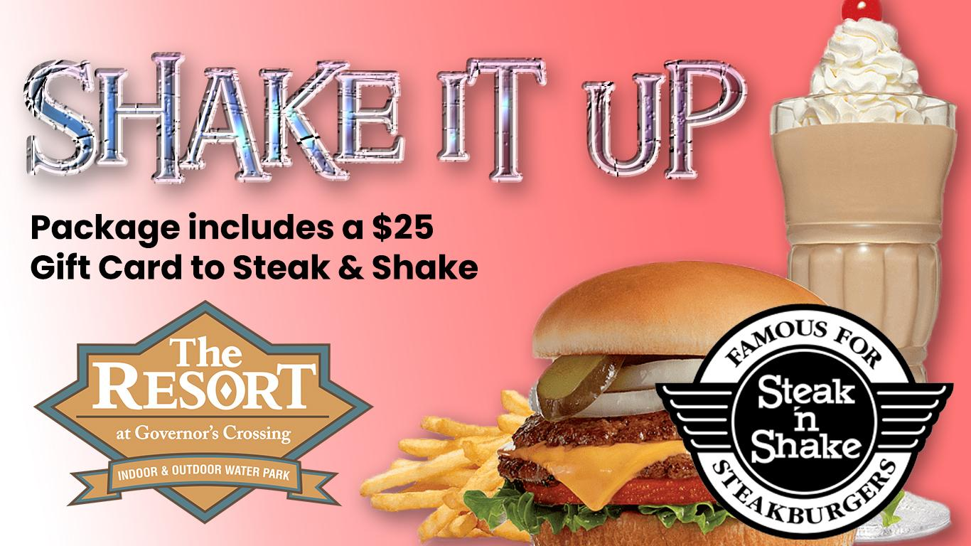 Steak and Shake hamburger, shake and logo. Resort at Governors Crossing logo. Package includes $25 gift card.