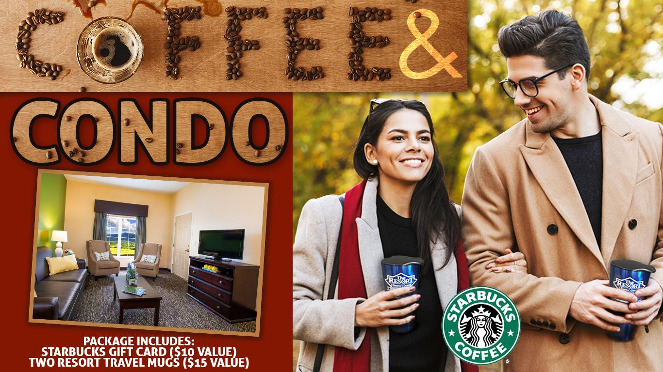 Photo of couple walking in autumn holding travel mugs. Inset showing interior of guest condo. Starbucks Coffee logo.