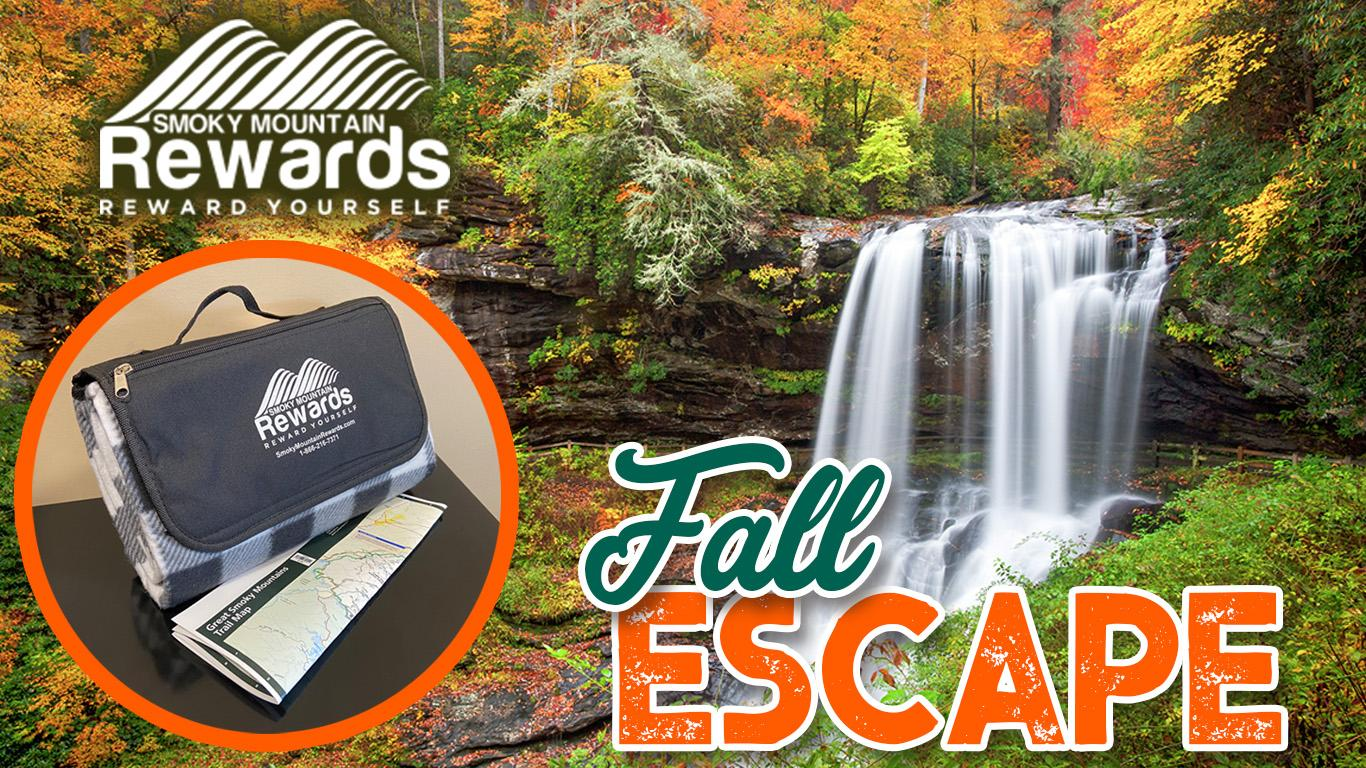 Photo of mountain waterfall in autumn with an inset showing outdoor blanket and trail map