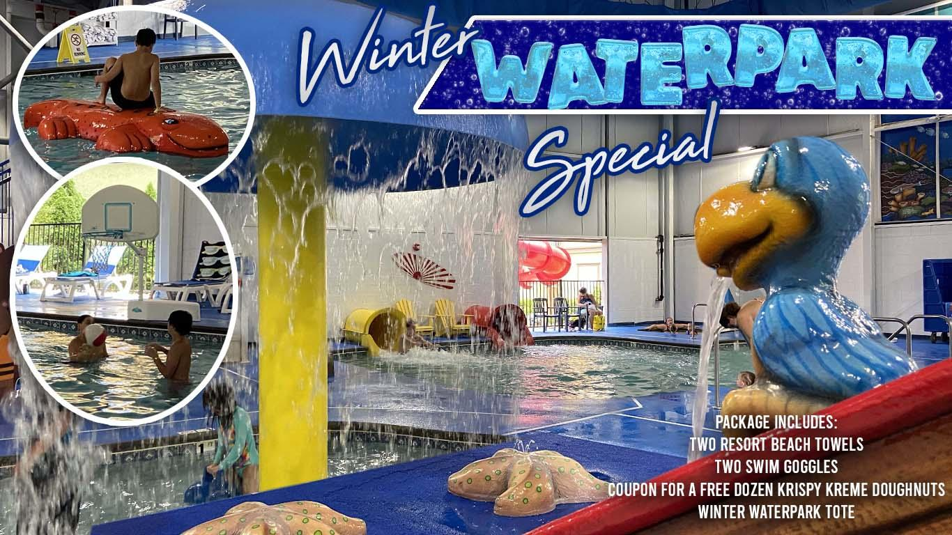 Children playing at The Resorts indoor waterpark. Insets of children enjoying different waterpark activities.